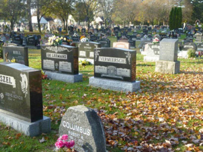Sommige kerkhoven zijn helemaal Nederlands en Vlaams. Je leest er enkel namen als Van Hove, Osaer, Van Groningen...